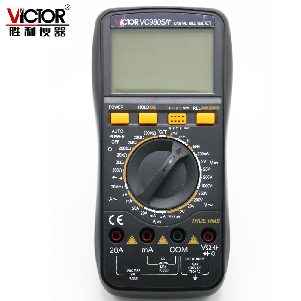 VICTOR VC9805A Multimeter True RMS DMM AC DC 20A Ammerter Resistance Capacitance Inductance Frequency Temperature tester