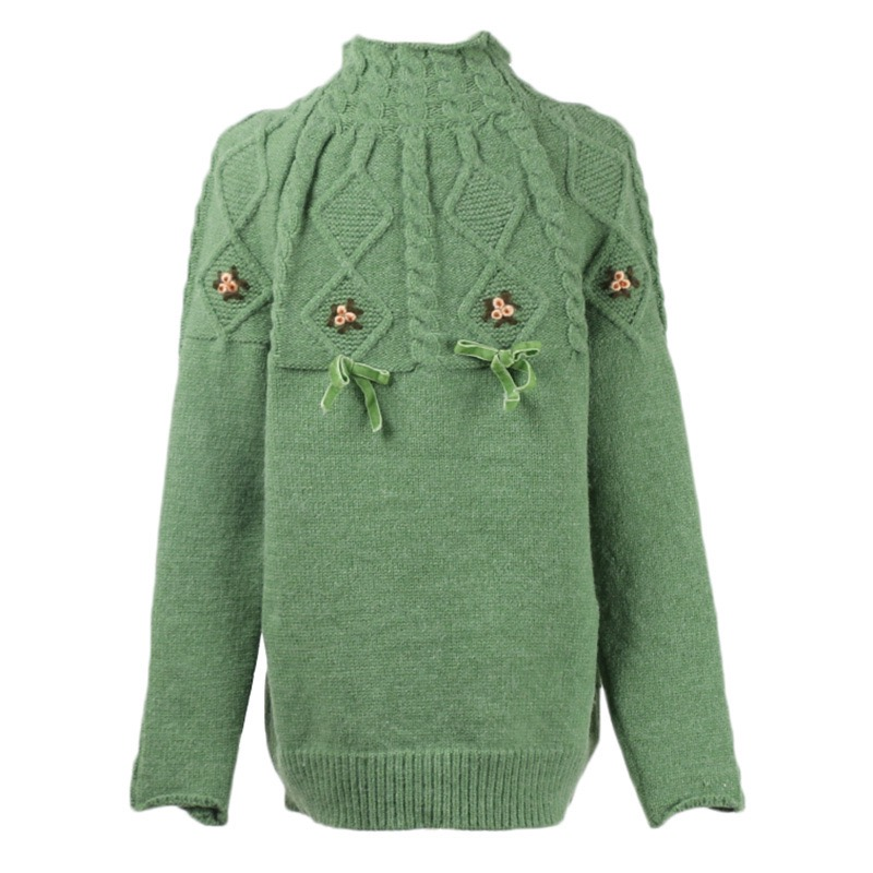 2019 Autumn Winter Original Design Gloria&Grace Women Casual Green Warm Wool Turtleneck Lace UP Sweater Pullovers Haute Couture