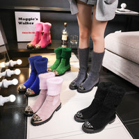 Maggie's Walker Women Fashion Genuine Leather Long Boots Women Autumn Candy colored Knitted Snow Boots Size 35 41