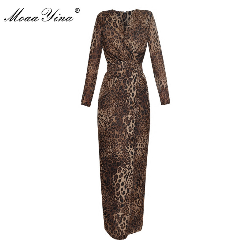 MoaaYina Fashion Designer Runway Maxi Dress Spring Women V collar Long sleeve Leopard Slim Package hip