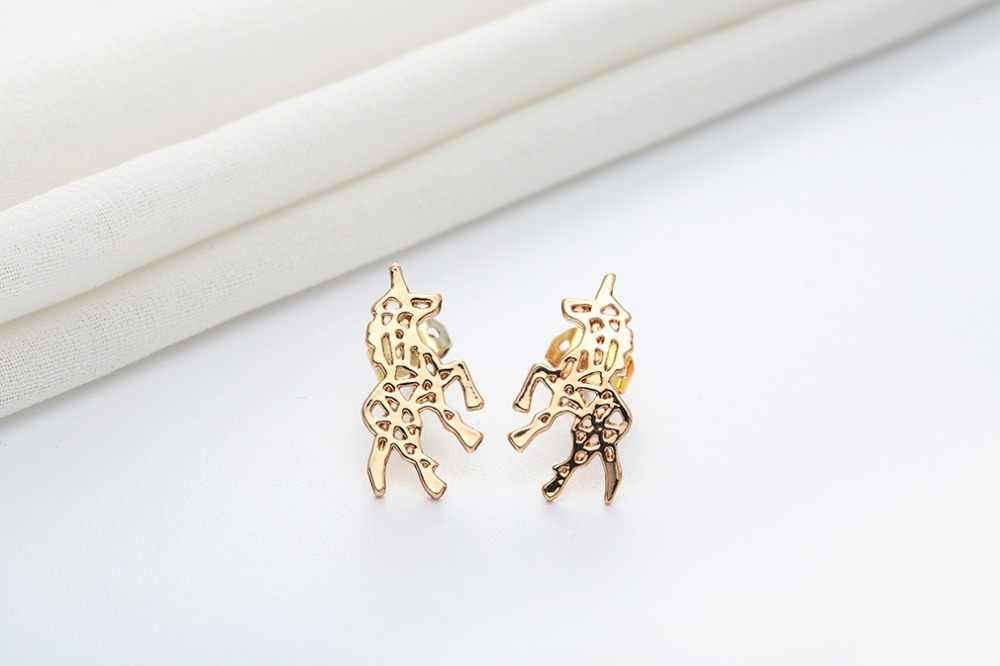 ビッグプロモーションポリッシュユニコーン馬スタッドピアス動物ゴールドメッキオリジナルステートメントファッションジュエリー女性のギフト