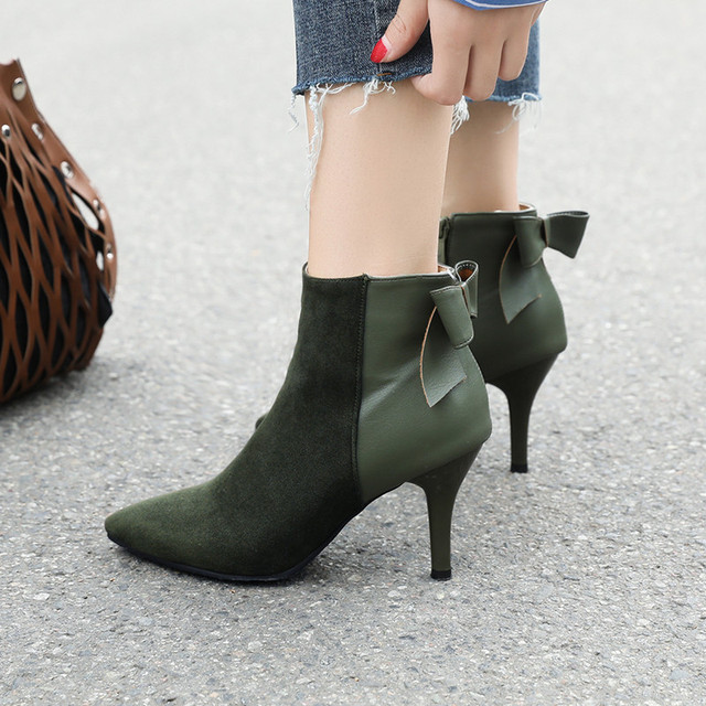 US $25.72 25% OFF|suede patchwork high heel ankle boots