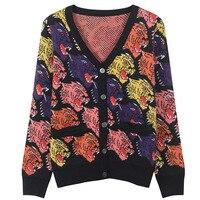 GRUIICEEN Wolf single breasted cardigan sweater streetwear autumn slim knitted sweater coat fashion