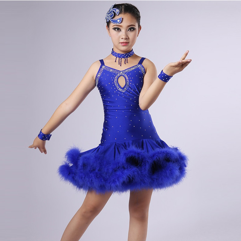 Picture of Customize Feather Children Latin Dance Dress Girls Dance Costume For Kids Latin Dresses For Girls Latin Salsa Dress Dance Wear