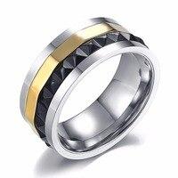 Luxury Brand Women Ring Stainless Steel Black Silver Gold Spinner Jewelry Men Wedding Finger Rings For