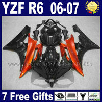 Custom Injection moto ABS fairings kit For YAMAHA YZF R6 06 07 YZFR6 plastic 2006 2007 orange black body repair fairing kits