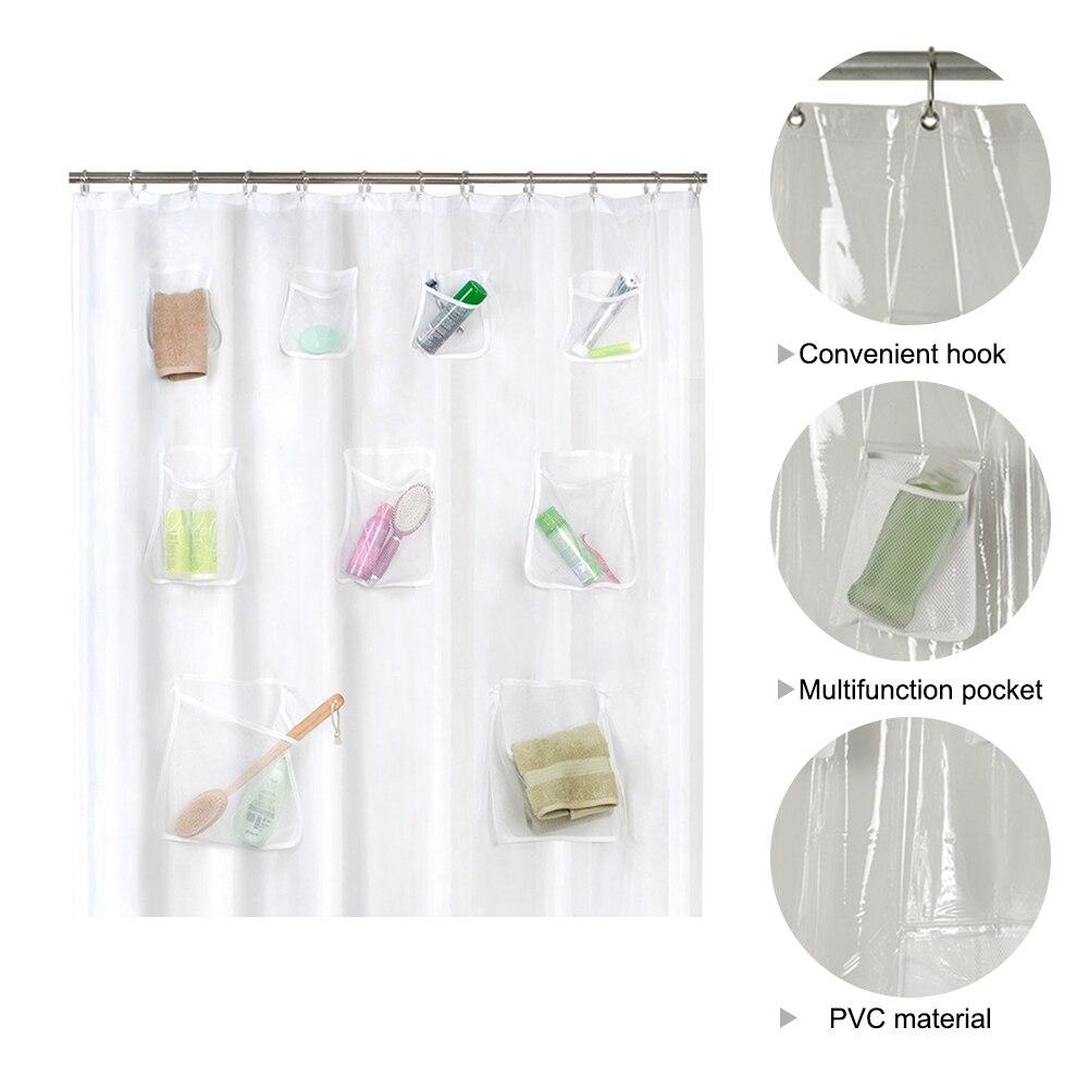Creative 9 Pockets Bath Organizer Shower Curtain Hooks Mesh Accessories For Home Decoration