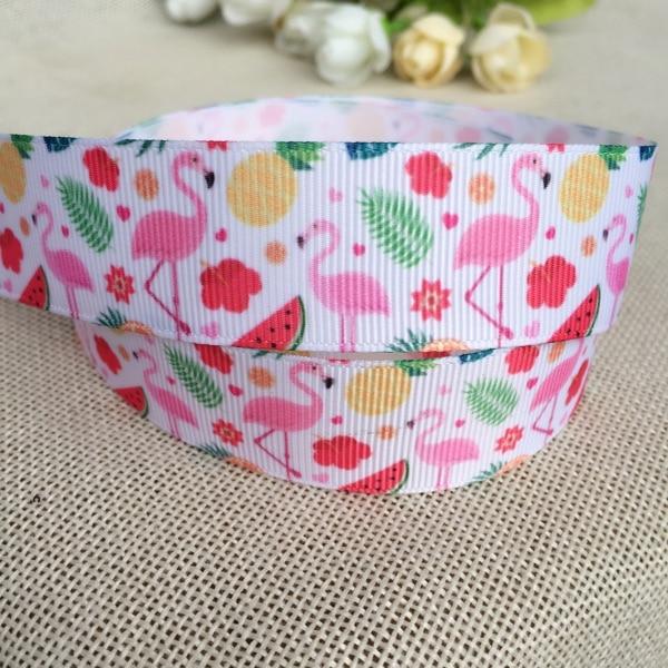 1 25MM new sales 10 yard flamingo summer high quality printed polyester ribbon , DIY handmade materials, wedding gift w