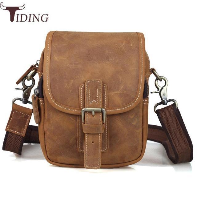Tiding New Designer Men Genuine Leather Belt Pack Waist Bag Vintage Small Travel Shoulder