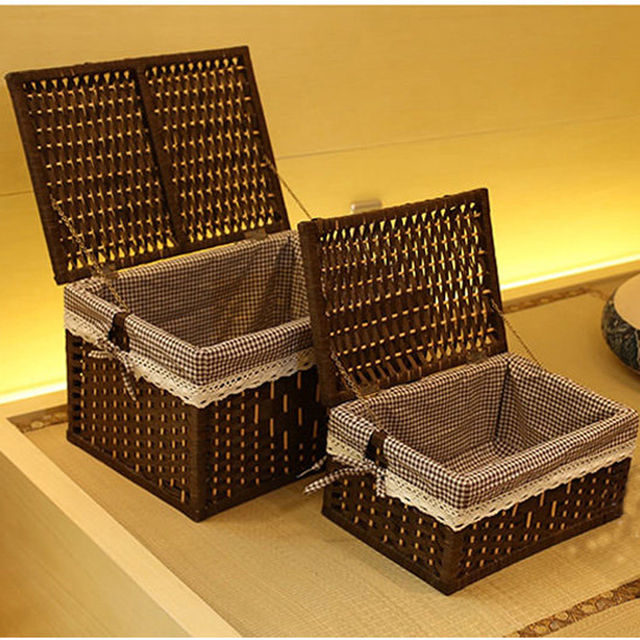 Laundry Storage Baskets Container Paper Rope Cloth Storage Rectangular  Basket With Lid Decorative Wood Organizer Box