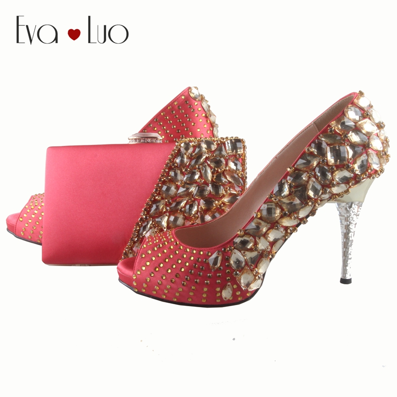 Bs035 Handmade Coral Italian Shoes With Matching Bags Set