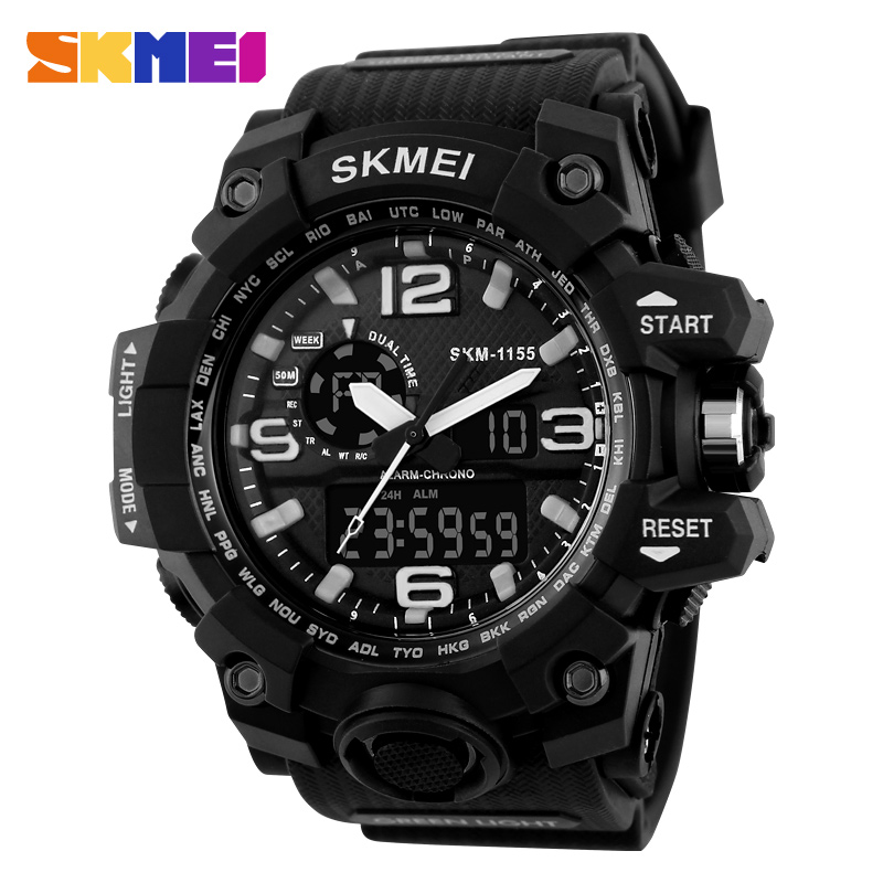 Skmei grote wijzerplaat cool buitensporten horloge heren quartz digitale led 50 m waterdichte horloges militaire leger alarm horloges 1155