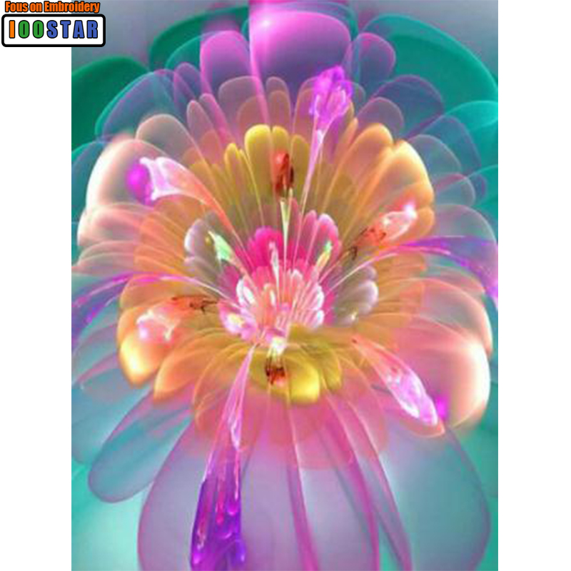 웃 유5d Diy Diamante Pintura Colores Fluorescentes Flor Cuadrado