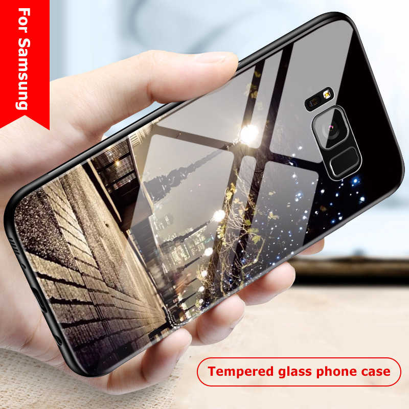 Ekdme Tempered Glass untuk Samsung Galaxy S8 S9 Plus Note 8 Case Cover Coque Lembut Silicone Bumper untuk samsung S9 PLUS