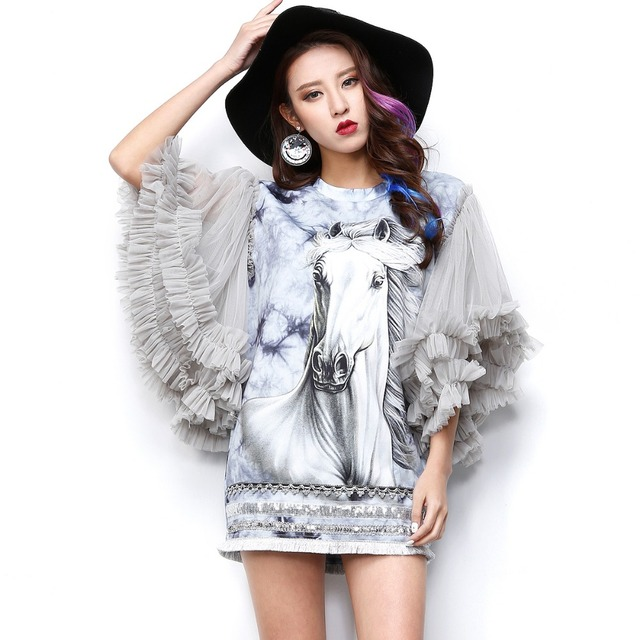 4214413a145 New Spring Summer Women Casual Long Blouses Ladies Horse Print Tops Petal Ruffles  Sleeve Streetwear Animal