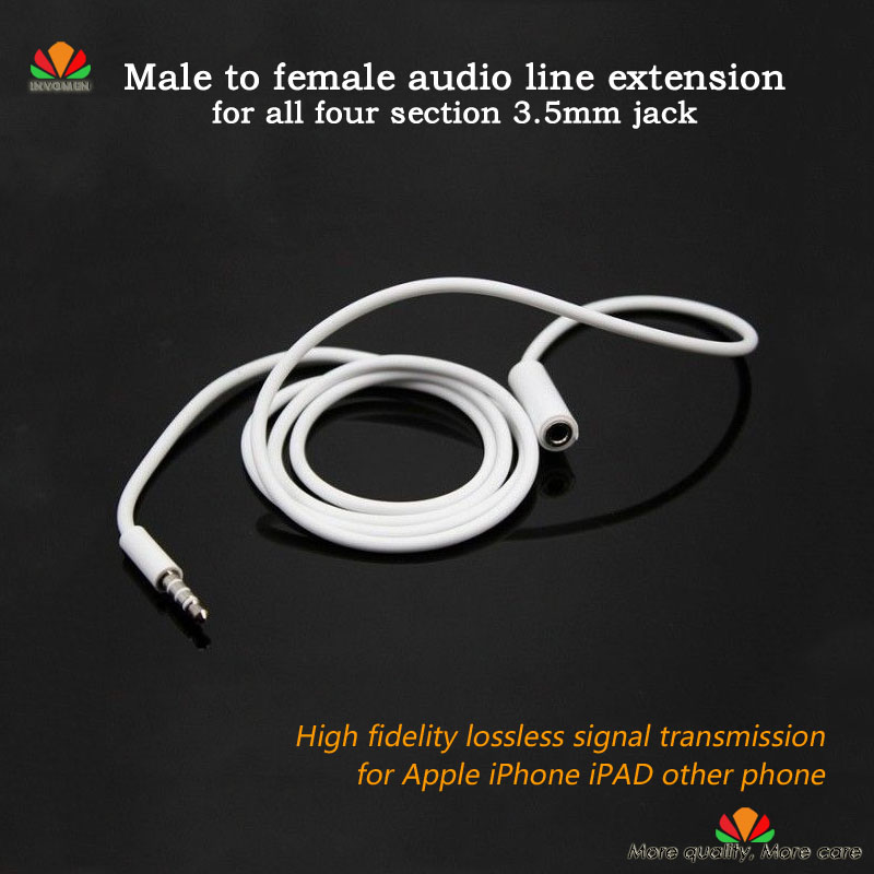 Male To Female Audio Extension Cable 4 Sections 3.5mm Plug Headset Jack Earphone Cord For Adjusting Volume Microphone Headphones