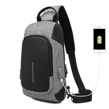 New Men Chest Bag Business Casual Bag Anti Theft USB Charge Travel Bags Oxford Waterproof Shoulder Messenger Bags