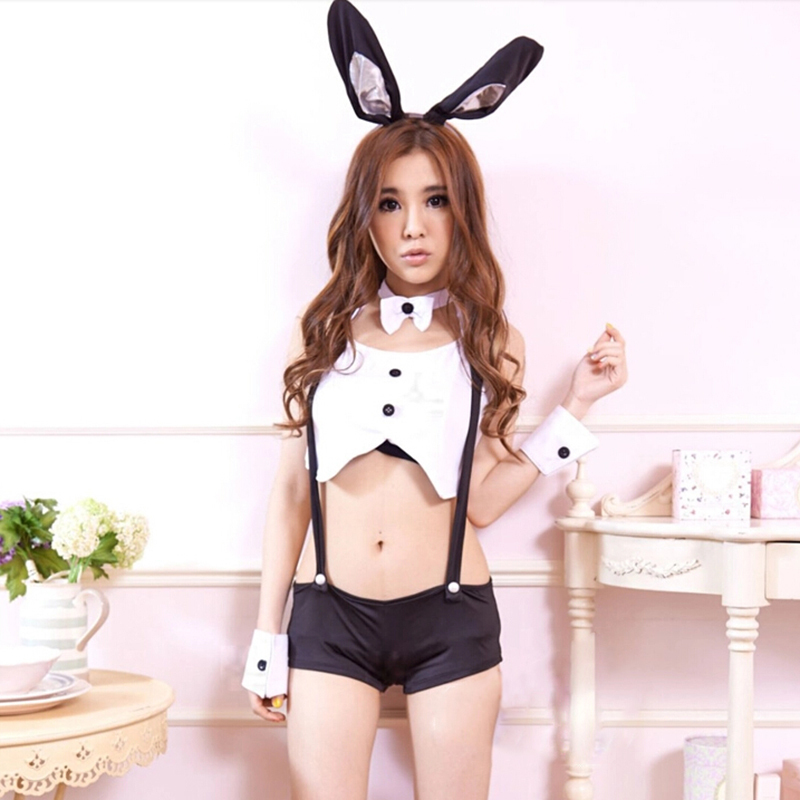 1Set Bunny Girl Maid Costume Halloween Cosplay Uniform Fancy Bunny Lingerie Dancing Costume Rabbit Ear+Tops+Bib Short-in Sexy Costumes from Novelty ...  sc 1 st  AliExpress.com : girls rabbit costume  - Germanpascual.Com