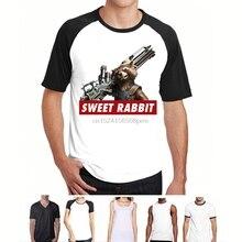 100% Cotton O-neck Custom Printed Tshirt Men T shirt Sweet Rabbit - Rocket c95c0ea510ea