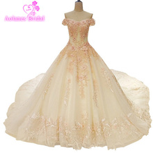 Luxury Full Appliques Flowers Beaded Pearls Wedding Dress  Sleeveless A Line 2017 Cathedral Train Dresses Real Photo