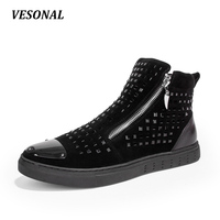 VESONAL Autumn Winter High Top Men Shoes Casual Metal Sequins Zip Quality Linen Male Footwear Fashion