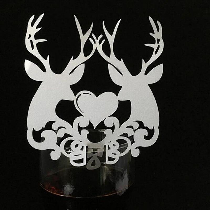10 Color 50pcs Laser Cut Christmas Deer Paper Place Card  Escort Card  Cup Card Wine Glass Card For Wedding Xmas Decor Favor (4)