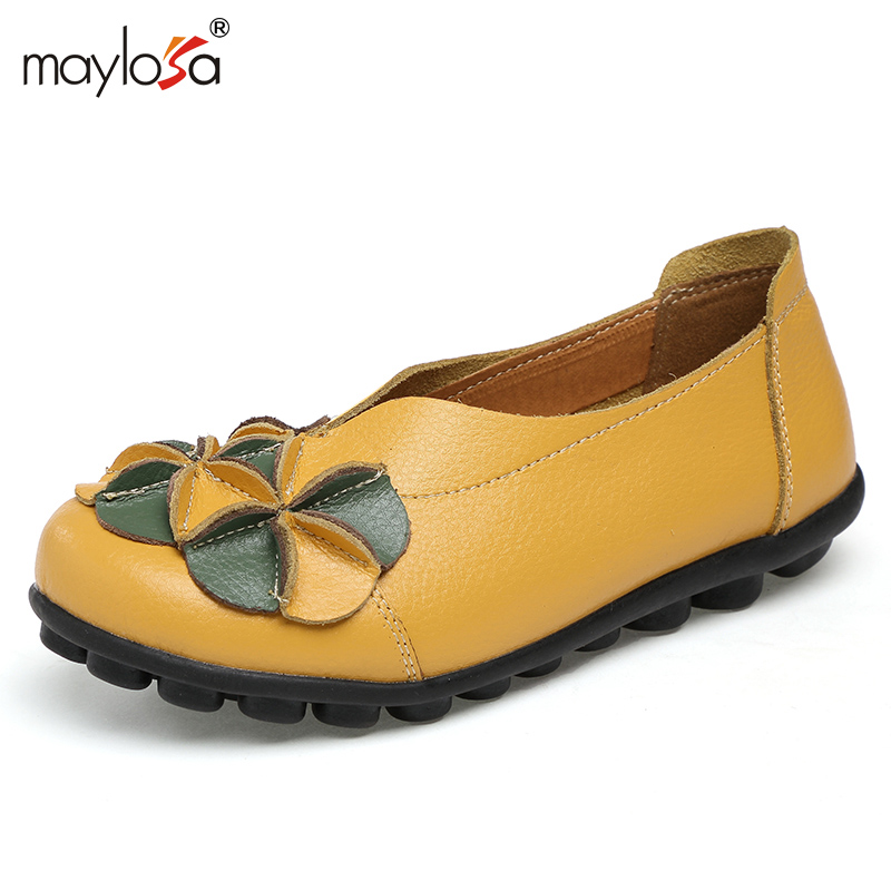 MAYLOSA Woman Genuine Leather Flat Shoes Handmade Loafers Slip On comfortable shoes Female Casual Shoes plus size 44 new 2017 mens white color genuine leather slip on flat casual shoes cool guys brand hip hop shoes size 38 44