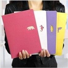 Получить скидку Новые Горячие Простой стиль A4 студент ноутбук дневник Канцелярские Творческий животных модель случайный цвет блокнот