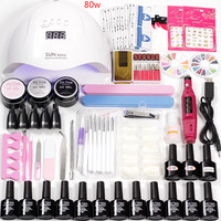 Manicure Set Nails Lamp 48w /80w Led Dry for Acrylic Nail Kit 12pcs Gel Varnish Nail Polish Machine Handle gel Extension Set