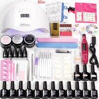 Manicure Set Nails Lamp 48w /80w Led Dry for Acrylic Nail Kit 12pcs Gel Varnish Nail Polish Machine Handle gel Extension Set