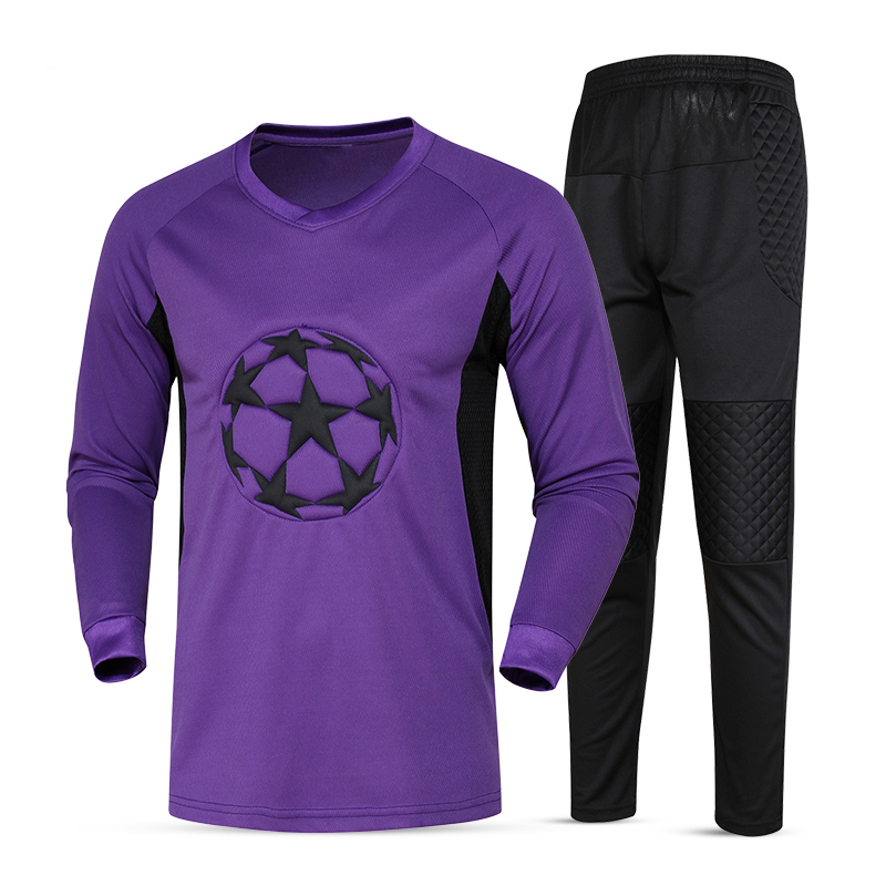 New Soccer Goalkeeper Jerseys Kit Sponge Protector Long Sleeve Suit Men Soccer Goal Keeper Jersey Uniforms Football Training Set