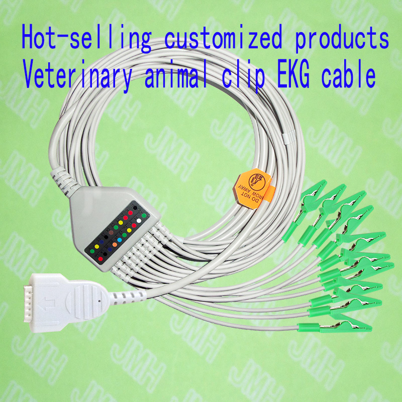 Custom product Compatible Marquette/Hellige MicroSmart, MAC500/1100/1200/1200ST Veterinary animal clip EKG/ECG 10-Lead cable
