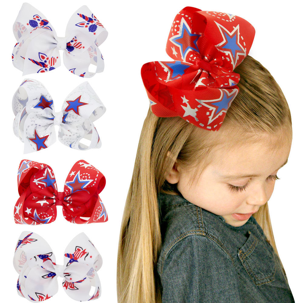 Patriotic hair bow headband USA 4th of July baby American flag red white blue