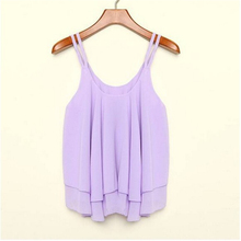 Women new tops womens sleeveless shirt solid candy color chiffon shirt bottoming shirt suspenders shirt Blouses Plus Size