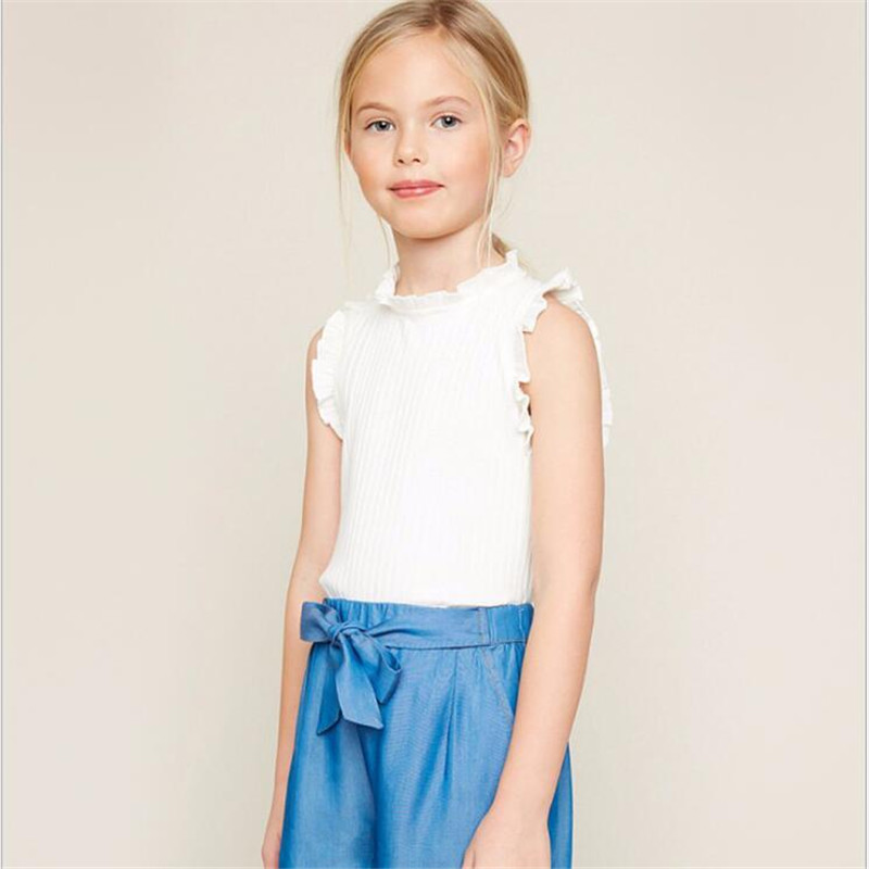 HaydenGirls Teenager Cotton Ruffles T-shirts Junior Fashion Sleeveless Tees Big Baby Girls Casual Jumper Tops 2018 Kids clothes