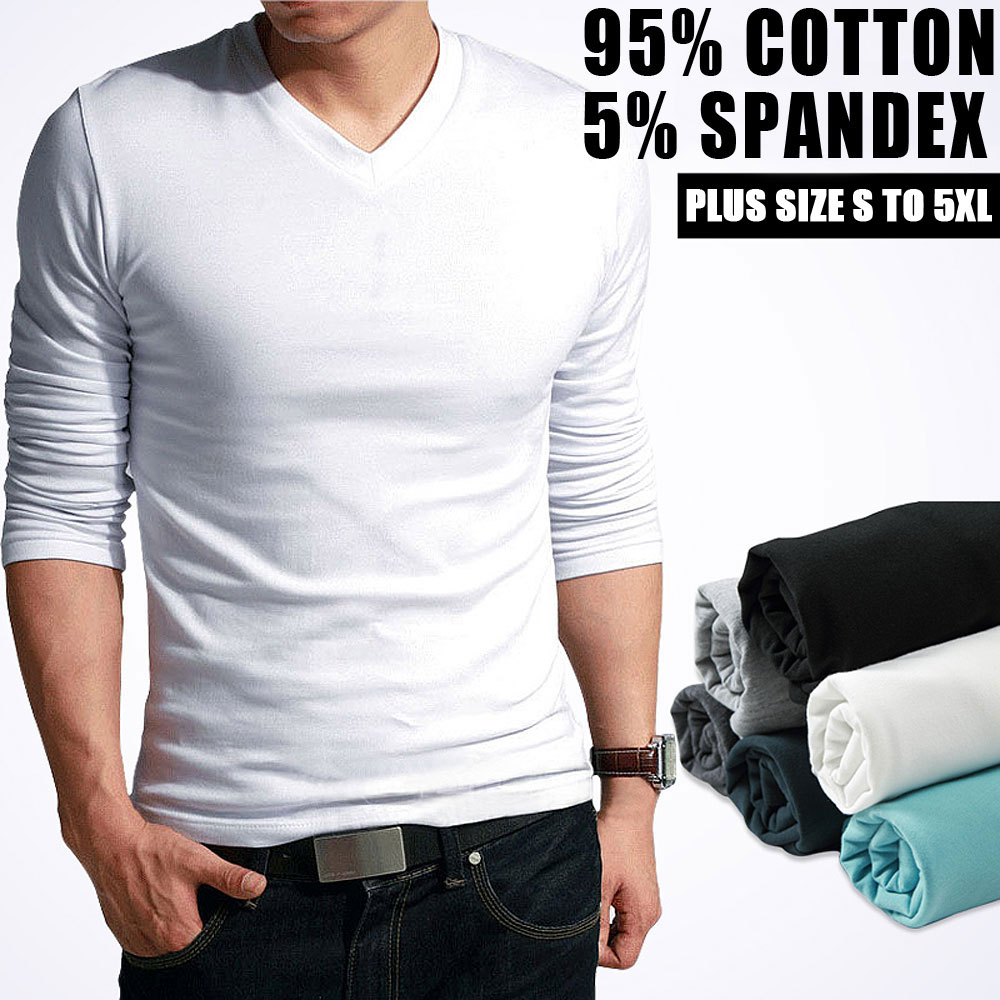 67c3d4844882 Elastic cotton t-shirts men s long sleeve v neck tight t shirt