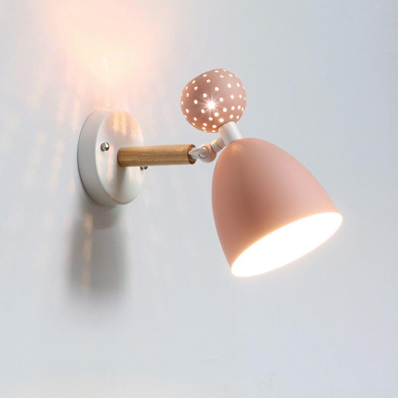 Nordic ночники вращаясь современный настенный светильник Спальня Ma Caron Детские творческие прохода света Гостиная Бра Настенные Светильники