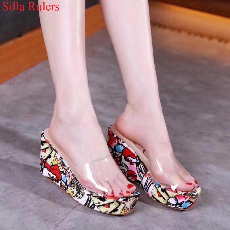 Picture Nueva 2018 Zapatos De Mujer Vendimia as Sandalia La Picture Pvc As Tacones Sandalias Gladiador Cuña Zapatilla Impresión Altos Plataforma Verano AfqArwR