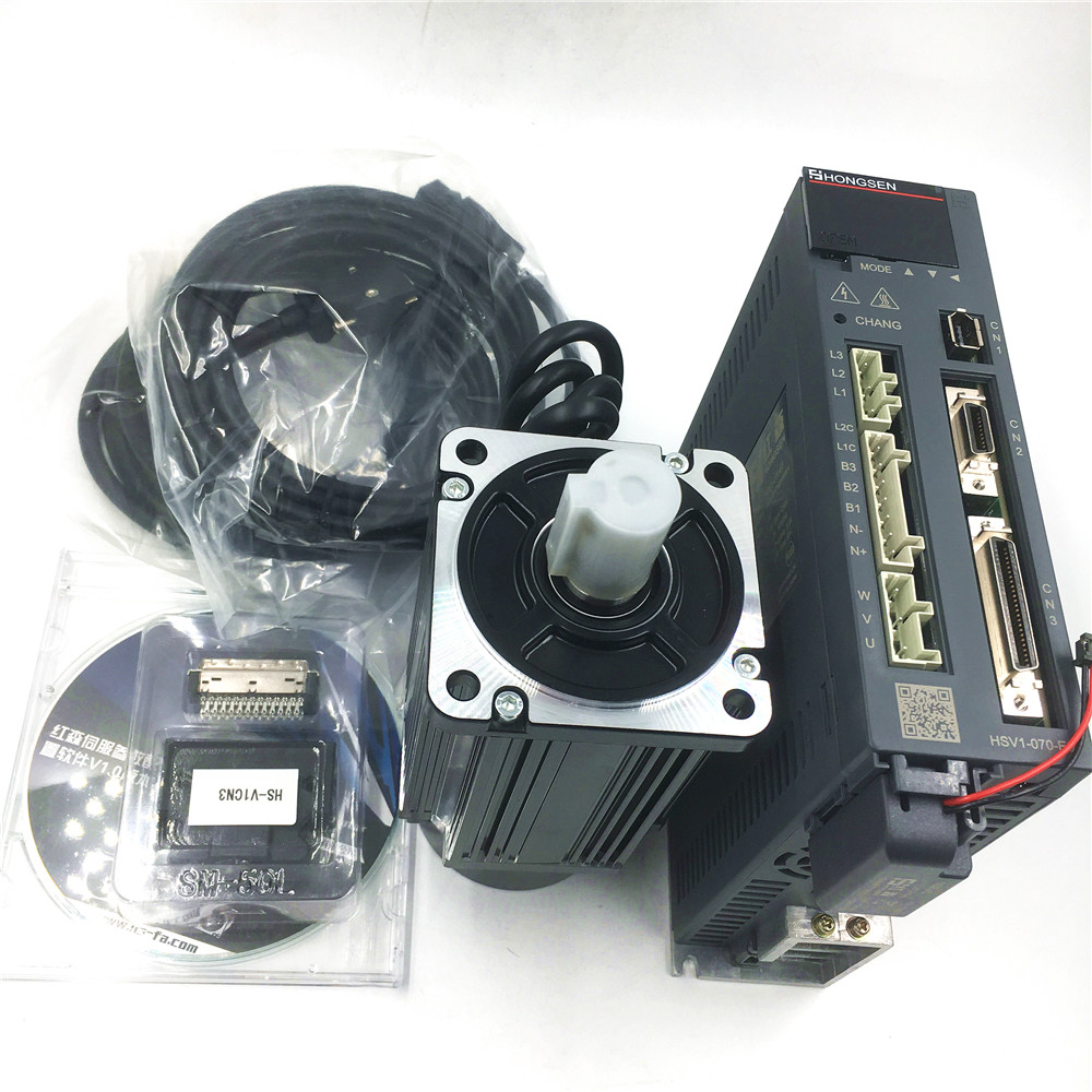 400W 3000rpm Servo Motor Driver Kit 80mm 0.4KW 1.27Nm Three 3 Phase AC 220V CNC Servo Drive Motor 3m Encoder cable& Power Cable free shipping 2 6kw ac servo drive and motor cnc servo kit 130st m10025 10n m 2500rpm servo motor driver