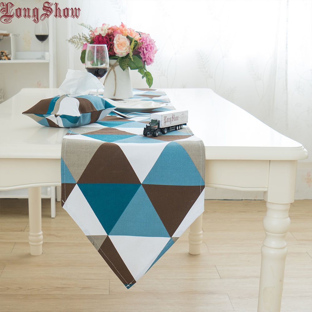 Colorful Geometric Printed Living Room Coffee Table Modern Style Cotton Thick Table Runner