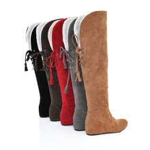 women long boots winter flock leather snow boots for woman knee high warm women's shoes plus size 40 41 42 43