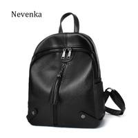 Nevenka Brand New Design Women Quality Leather Backpack Solid Style Zipper Bag Tassel Casual Shoulder Bags