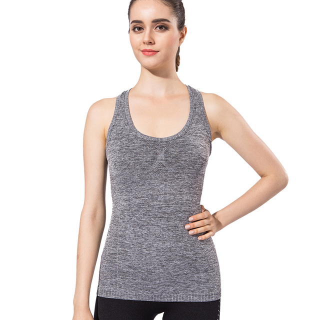 8c10bb88a787d Women Sports Fitness Body Building Tank Top New Yoga And Gym Padded Vest  Hot Running Compression