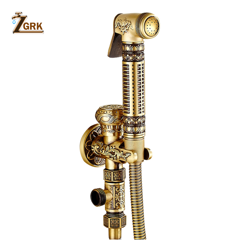 ZGRK Bathroom Shower Ass Bidet Squeegee Brass Faucet System Washing Tap Tail Anal Nozzle Wall Handheld
