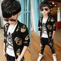 Moda meninos roupas jaqueta crânio