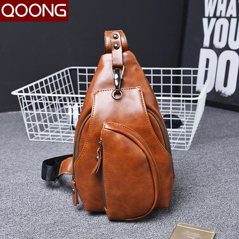 QOONG 2017 Man Messenger Bag Casual Travel Chest Bag Leather Small Crossbody Back Pack Men Fashion Waist Shoulder Bag YB1-007 feidikabolo famous brand theftproof magnetic button open leather mens chest bags fashion travel crossbody bag man messenger bag