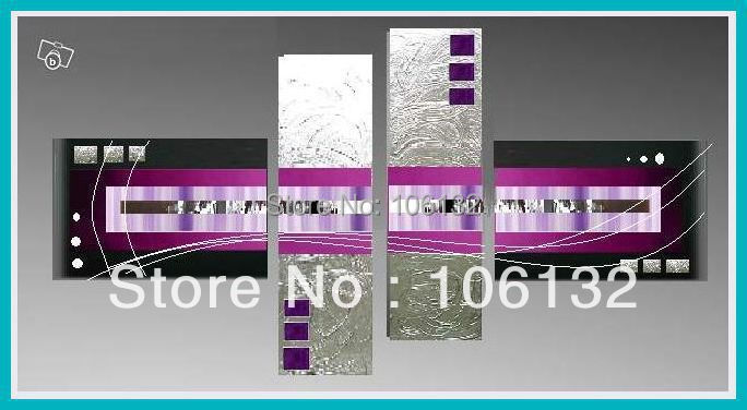 Framed 4 Panel Large Black Silver and Purple Wall Art Abstract Oil ...