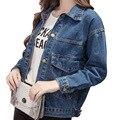 Большой Карман Джинсовой Ткани Женщин Куртки BF Стиль Solid Jaqueta Feminina плюс Размер Осень Жан Пальто Slim Fit Моды Chaquetas Mujer S-XL