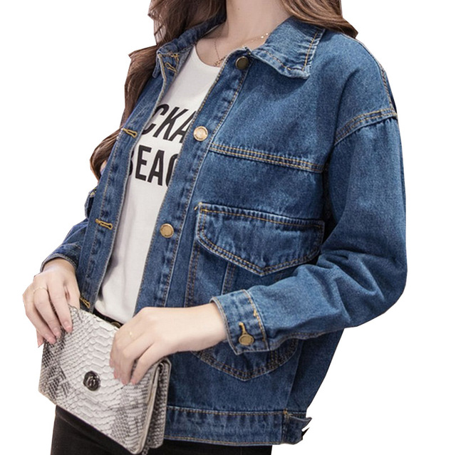 Big Pocket Women Denim Jackets BF Style Solid Jaqueta Feminina Plus Size Autumn Jean Coats Slim Fit Fashion Chaquetas Mujer S-XL