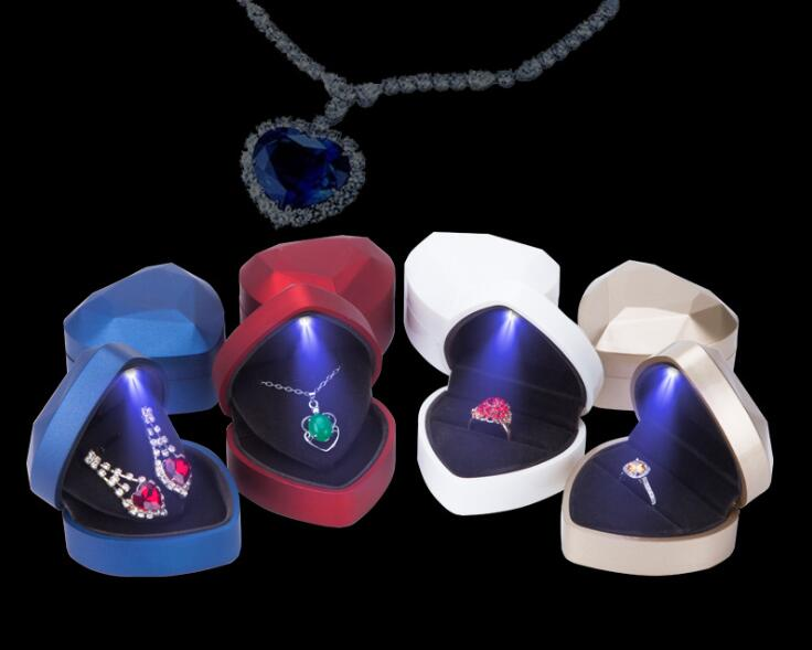10pcs lot Heart Shape LED Lighted Earring Ring Box Wedding Engagement Ring Necklace Jewelry Box Display